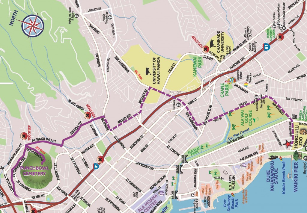 Scoot Coupe Map from Waikiki to Punchbowl Cemetery